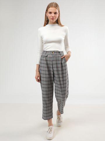 מכנסיים מחוייטים בהדפס משבצות