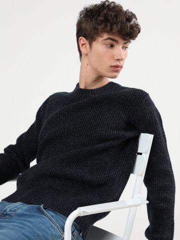 סוודר סרוג בטקסטורת וופל