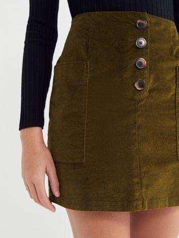 חצאית מיני קורדורוי עם כפתורים BDG