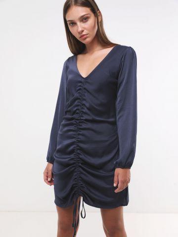 שמלת סאטן מיני עם שרוכי כיווץ