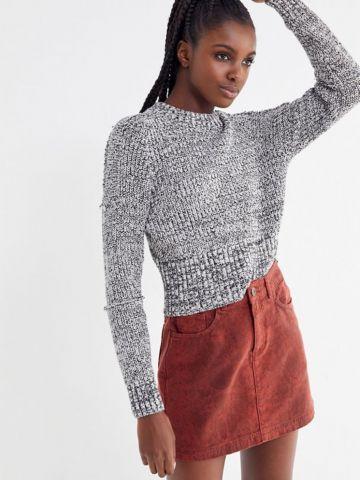 חצאית ג'ינס מיני בהדפס נחש עדין UO