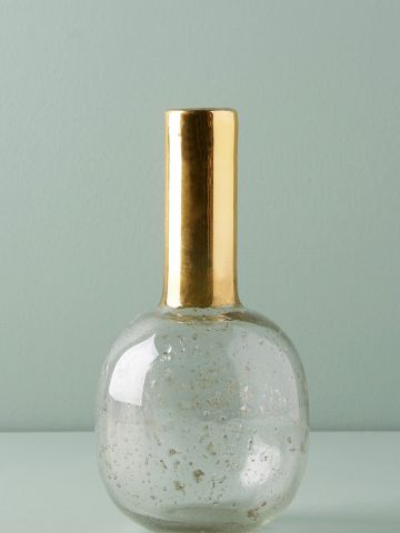 אגרטל זכוכית עגול עם צוואר מוארך