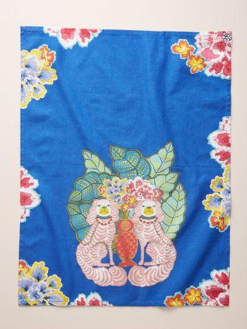 מגבת מטבח בהדפס כלבים ופרחים