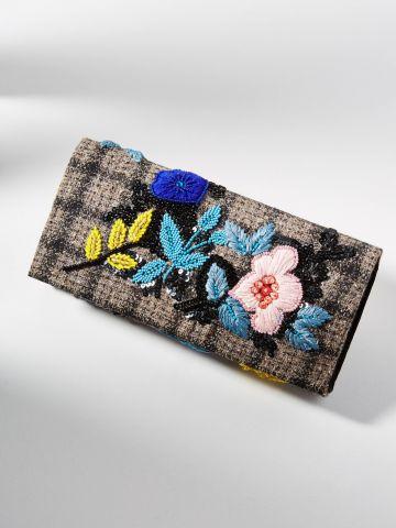 תיק קלאץ' מלבני עם עיטורי פרחים וחרוזים