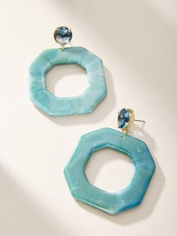 עגילי סיכה בצורת מתומן עם אבן צבעונית