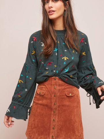 חולצה עם עיטורי ציפורים ושרוולי פעמון Ranna Gill