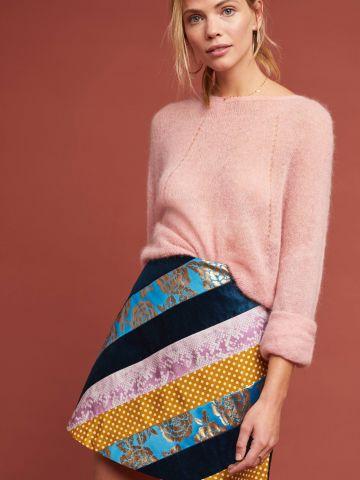 חצאית מיני קטיפה עם פסים צבעוניים Maeve