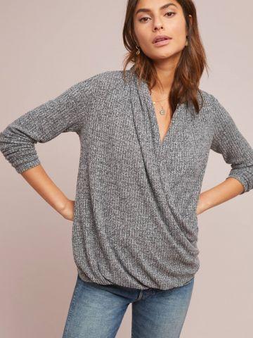 חולצת מעטפת בטקסטורת וופל Akemi + Kin