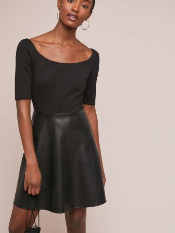 שמלת מיני בשילוב חצאית דמוי עור Bailey 44