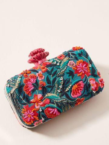 תיק קלאץ' מלבני עם עיטורי פרחים וציפורים