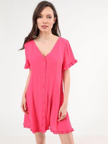 שמלת מיני מכופתרת עם עיטורי מלמלה