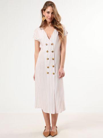 שמלת מקסי מכופתרת בהדפס פסים