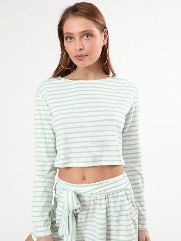 חולצת קרופ ריב בהדפס פסים של GLAMOROUS