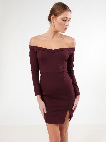 שמלת מיני אוף שולדרס עם שסע