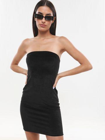 שמלת קטיפה מיני סטרפלס
