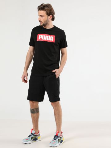 מכנסי טרנינג קצרים לוגו בשילוב פיקה