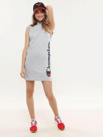 שמלת מיני לוגו עם צווארון גבוה