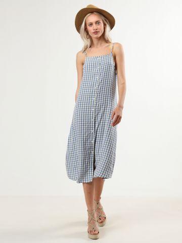 שמלת מידי מכופתרת בהדפס משבצות