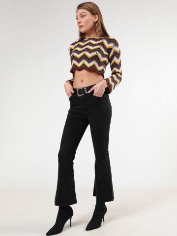 ג'ינס קרופ עם סיומת מתרחבת Flare