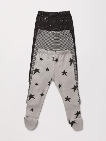 מארז 3 מכנסיים עם רגליות בהדפס שונים / 0-2Y