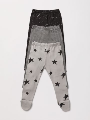 מארז 3 מכנסיים עם רגליות בהדפס שונים / NB-2Y
