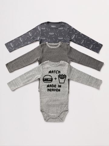 מארז 3 בגדי גוף עם הדפסים שונים / 0-2Y של TERMINAL X KIDS