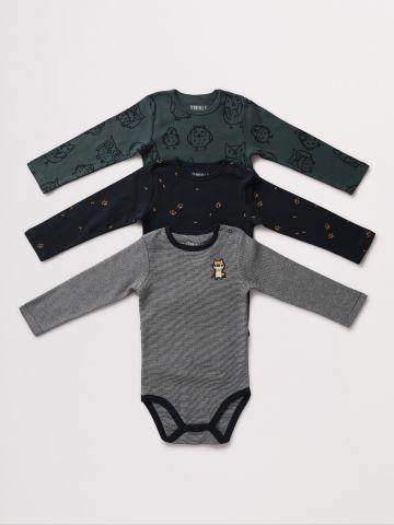 מארז 3 בגדי גוף עם הדפסי חיות / 0-2Y