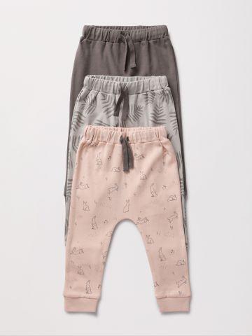 מארז 3 מכנסי טרנינג בהדפסים שונים / 0-2Y