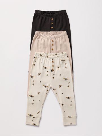 מארז 3 מכנסי טרנינג ארוכים עם כפתורים / 0-2Y