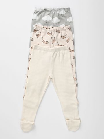 מארז 3 מכנסיים בהדפסים שונים עם רגליות / 0-2Y