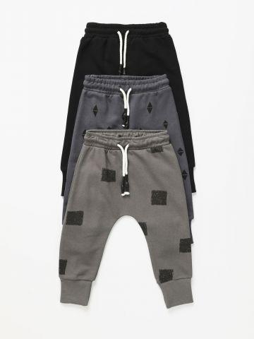 מארז 3 מכנסי טרנינג בהדפסים שונים / 0M-6Y