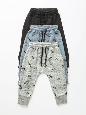 מארז 3 מכנסי טרנינג פוטר בהדפסים / 0-6Y