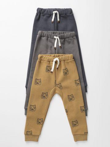 מארז 3 מכנסי טרנינג פוטר ארוכים בהדפסים שונים / 0-6Y