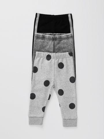 מארז 3 מכנסי טרנינג דקים בצבעים שונים / 0M-6Y