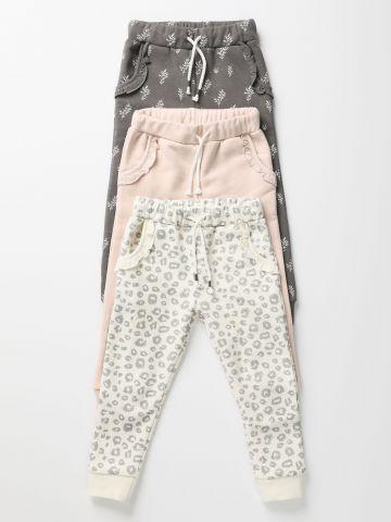 מארז 3 מכנסי טרנינג פוטר בהדפסים שונים / 0M-6Y