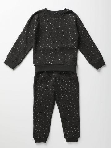 סט סווטשירט ומכנסי פוטר בהדפס כוכבים מנצנצים / 0-6Y
