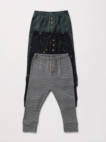 מארז 3 מכנסיים ארוכים בהדפסים שונים עם כפתורים / 0-2Y
