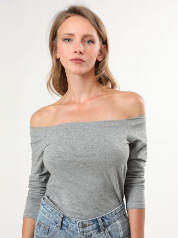 חולצת אוף שולדרס עם שרוולים ארוכים