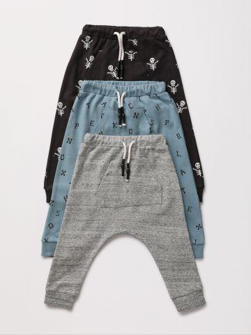 מארז 3 מכנסי טרנינג בהדפסים שונים / 0-6Y