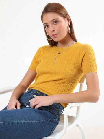 חולצת סריג בטקסטורת צמות