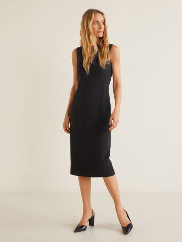 שמלת מידי מחויטת ללא שרוולים