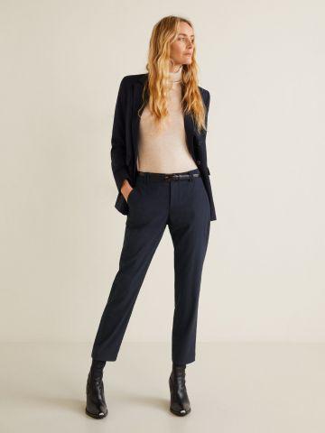 מכנסיים מחויטים בגזרה ישרה עם חגורה