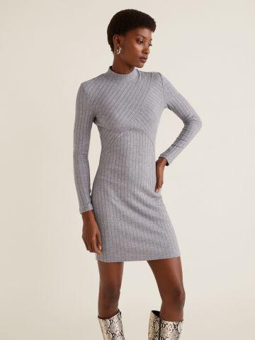 שמלת מיני ריב עם צווארון גבוה
