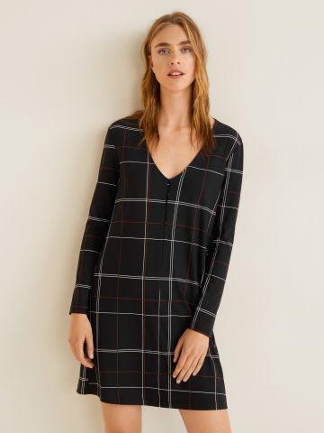 שמלת מיני סריג בהדפס משבצות עם כפתורים