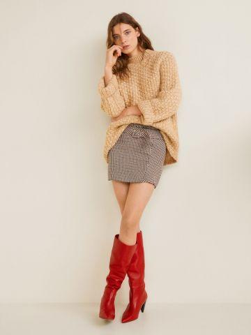 חצאית מיני משבצות בסגנון מעטפת עם חגורה