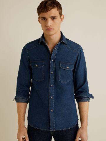 חולצת ג'ינס מכופתרת סלים בשטיפה כהה
