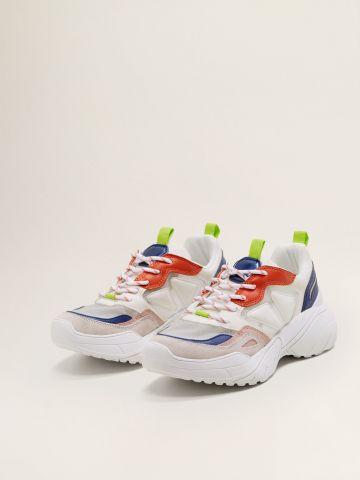 נעלי סניקרס צ'אנקי מולטי קולור בשילוב עור / נשים