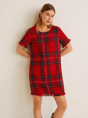 שמלת מיני טוויד בהדפס משבצות