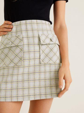חצאית מיני סרוגה בהדפס משבצות עם כיסים