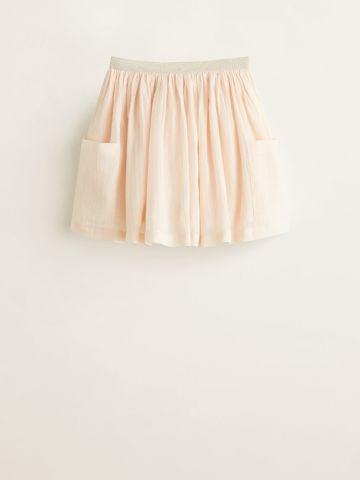 חצאית מיני פליסה מטאלית עם כיסים